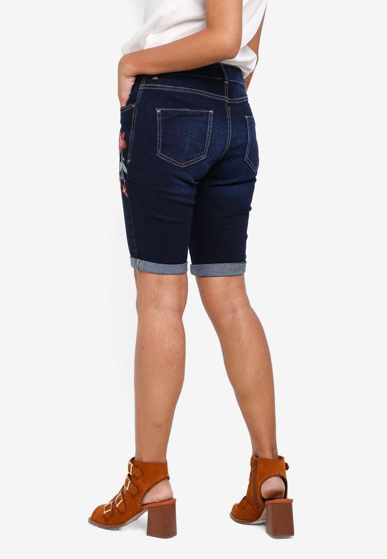 Embroidered Floral Perkins Shorts Dorothy Knee Indigo Indigo wt8qpE6