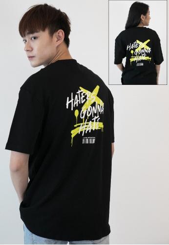OHNII 黑色 黑粉標識印花棉質寬鬆 T 恤衫(熒光綠) D4E58AA4ED9640GS_1