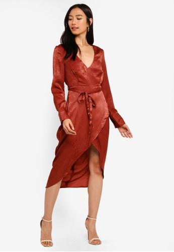 593af4e6645 Shop MISSGUIDED Long Sleeve Wrap Satin Midi Dress Online on ZALORA  Philippines