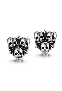 GMYE003 Hip Hop Punk Triple Skull Head Stainless Steel Earring
