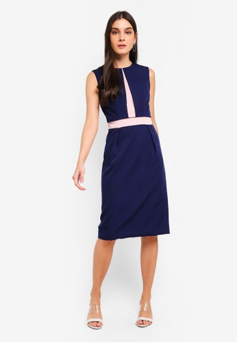 ZALORA multi and navy Contrast Semi Formal Dress 4269DAA9064A05GS_1