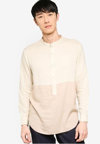 ZALORA BASICS beige Color Block Grandad Collar Shirt EFB50AAB0F4E5CGS_1