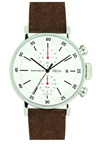 ZECA brown and red Zeca Watches Men Fashion Leather Analog - 266M Brown Silver ZE260AC98SKJSG_1