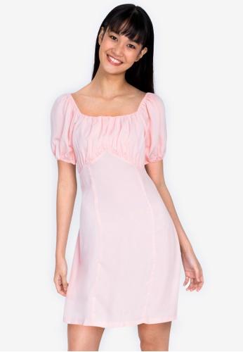 ZALORA BASICS pink Puff Sleeve Mini Dress F8112AA35F39A8GS_1