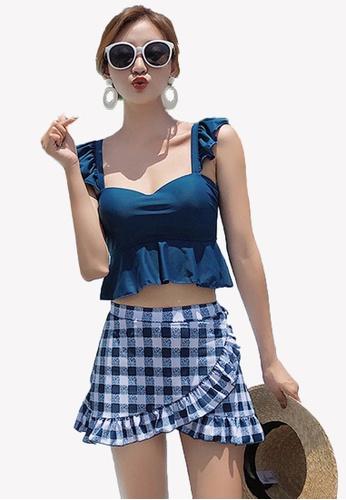 Halo blue (2pcs)  Ruffle Checked Bikini Swimsuit 825EDUS37AEFEAGS_1