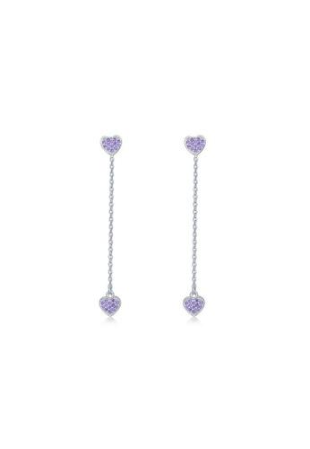 MBLife silver 925 Sterling Silver Purple CZ Heart Long Chain Stud Earrings 9F5EFAC8CFDC20GS_1