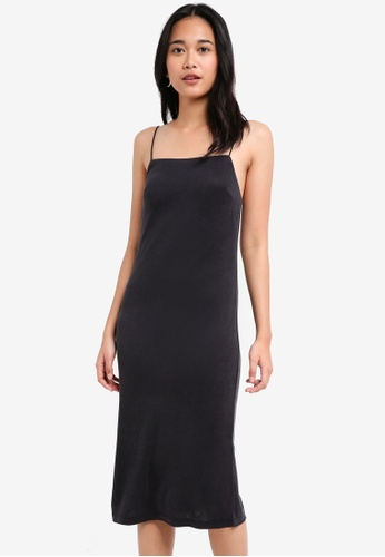 TOPSHOP black Square Neck Slip Dress 9F793AA85F6356GS_1
