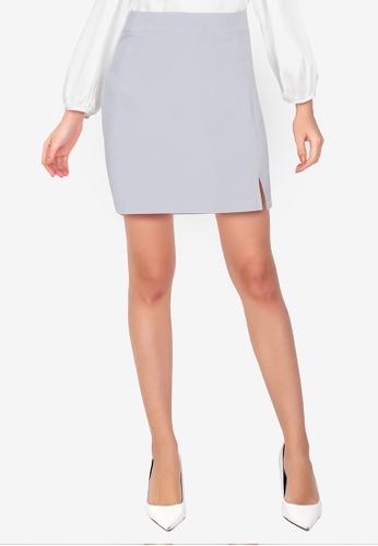 ZALORA WORK grey A Line Mini Skirt With Slit 51A39AA9F89A57GS_1