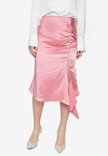 URBAN REVIVO pink Ruffled Slit Skirt 57B3DAA981CCCEGS_1