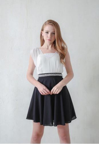 OL黑白zalora時尚購物網評價配色手工珍珠腰雪紡紗洋裝, 服飾, 派對洋裝