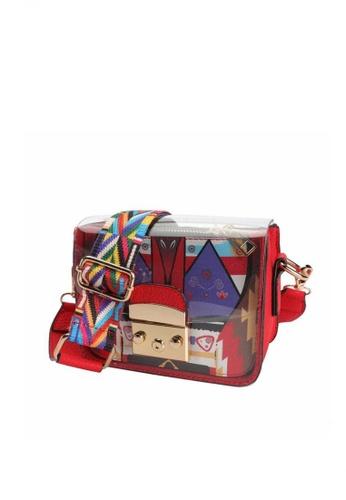 Lucky JX red Gene Mini Transparent Plastic Cross Body Shoulder Bag 14377ACA6B9F34GS_1