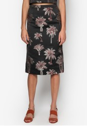 WAREHOUSE black Palm Jacquard Skirt WA653AA50VPXMY_1