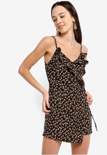 Something Borrowed 黑色 Ruffled Cami Wrap Dress 611E3AA77410FBGS_1