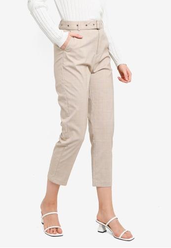 Hopeshow brown Plaid Capri Pants with Belt 1DDF9AAD912857GS_1