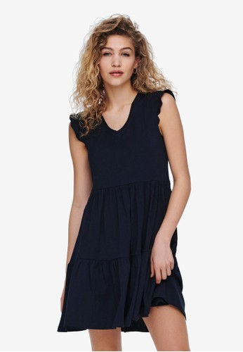 ONLY navy MAY CAP SLEEVES FRILL DRESS 02301AA4CC3F93GS_1
