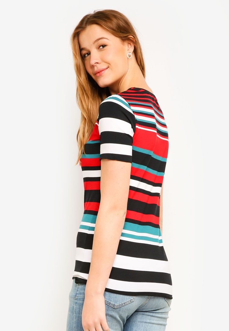 Stripe Red Shirt Bright Teal Perkins T Multi Dorothy Lettuce FOwHxq