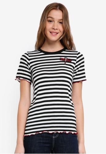 Dorothy Perkins 黑色 Stripe Motif Tee 3AEAEAA14D6C36GS_1