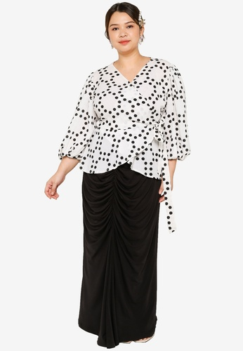 Lubna black and white Plus Size Wrap Top With Ruching Skirt Set 776FCAA8EC9488GS_1