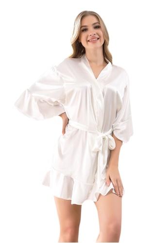 LYCKA white LCB2159-Lady One Piece Casual Robe Nightwear-White 6138CUS4CA1CCCGS_1