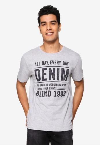 BLEND grey Vintage Text Crew Neck T-Shirt 54F7EAA879D2D3GS_1