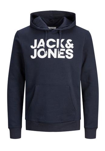 Jack & Jones navy Corp Logo Sweat Hoodie 1746CKAAA5C7BDGS_1