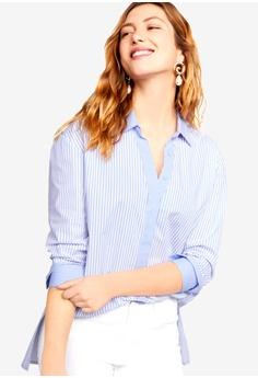 bc37c119976c04 Violeta by MANGO blue Plus Size Striped Cotton Shirt 25FFAAAAA06071GS 1