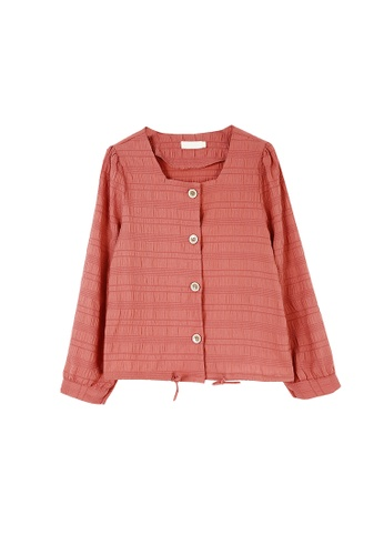 Its Me red Simple Square Neck Long Sleeve Shirt 0924DAA07D1190GS_1