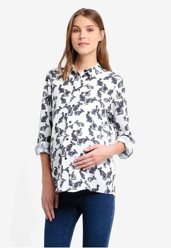 TOPSHOP black Maternity Bunny Print Shirt TO412AA0T0W5MY_1