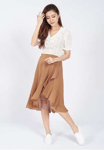 4399db82b3a0a Buy Sophialuv Lana Waterfall Skirt in Brown Online on ZALORA Singapore