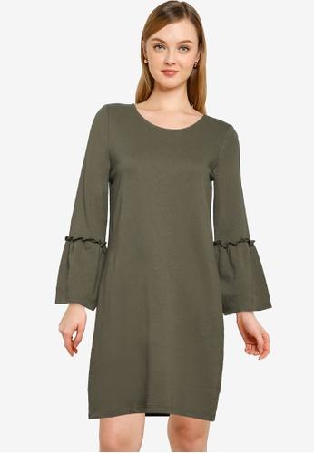 JACQUELINE DE YONG green Prove 3/4 Bell Sleeve Dress E082DAADEACDE0GS_1