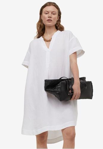 H&M white V-Neck Dress 58C2CAAB675550GS_1