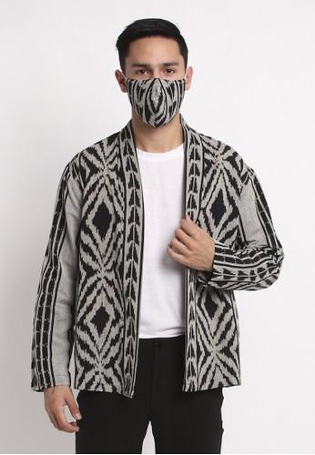 Batik Etniq Craft grey Outer Kimono Tenun Pria Key Top Grey Set Masker C82C9AA87D0463GS_1