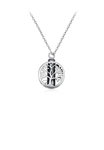 Glamorousky silver 925 Sterling Silver Fashion and Elegant Tree Of Life Geometric Round Pendant with Necklace 53B14ACEC2D577GS_1
