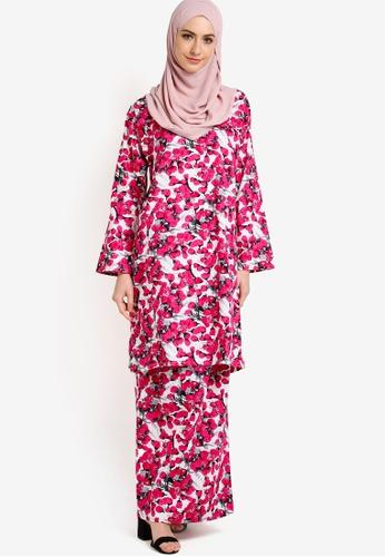 Azka Collection pink English Cotton Baju Kurung AZ019AA47LAUMY_1