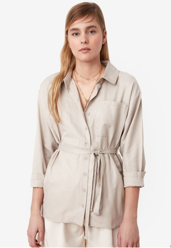 Trendyol beige Pocket Tie Waist Detail Shirt 78C8AAAEA3C637GS_1