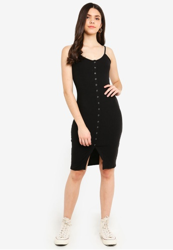 Supre black Button Rib Cami Mini Dress 5CE5AAA1FED7A4GS_1