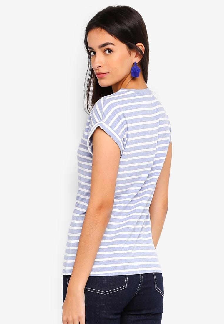 Dorothy Perkins Blue T Stripe Sleeve Roll Shirt RvvWn