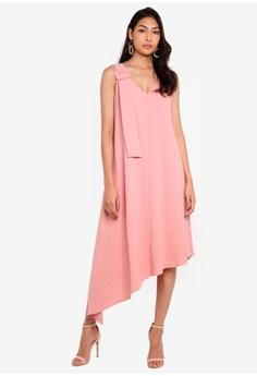 e31b8166702d BYSI pink Oversized Buckle Flare Dress A865BAAE0F0D70GS_1