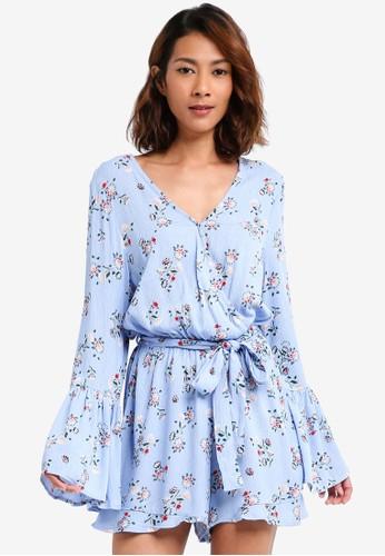 Cotton On blue Woven Hanna Bell Sleeve Playsuit 5A873AA6AC711AGS_1