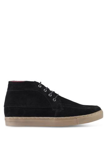 Acuto black Leather Hi Cut Sneakers AC283SH0SL7VMY_1