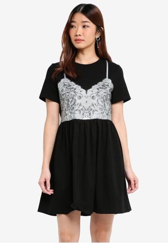 Something Borrowed black Lace Print T-Shirt Dress CE674AAB2C6489GS_1