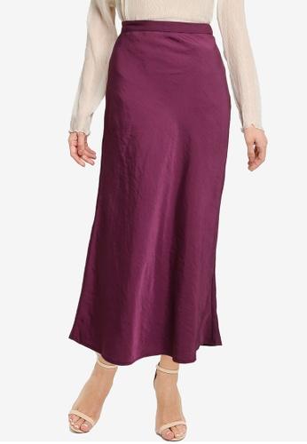 LOWRYS FARM purple Sheeny Midi Skirt E3D8FAA2BB138EGS_1