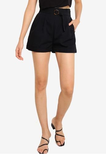 ZALORA BASICS black Paperbag Shorts EBF56AA8F0052FGS_1