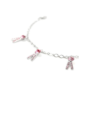 Glamorousky pink Fancy Trousers Anklet with Pink Austrian Element Crystals 4D36FAC5227EE8GS_1
