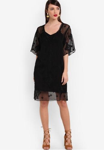 ZALORA black Premium Layered Embroidered Dress 45AFCAA7D0D66BGS_1