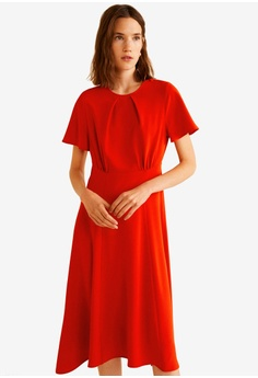 eda35c85a228 Mango red Gathered Details Dress 80392AAC00218AGS_1