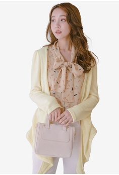 078c20c2de Eyescream beige 2-In-1 Printed Ribbon Tie Blouse With Cardigan  B6587AA2E2CE92GS_1