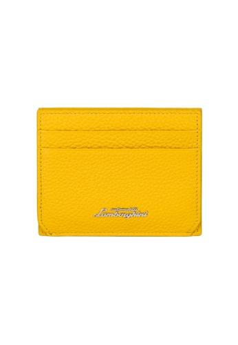 Lamborghini yellow Automobili Lamborghini® Script Yellow Calf Leather Wallet and Credit Cards holder 8227AACDFB613BGS_1