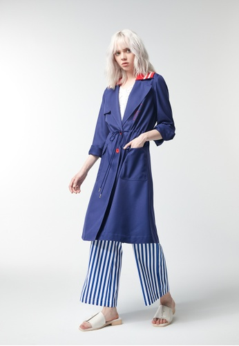 iROO blue Trench Coat BE01CAA93F76F2GS_1