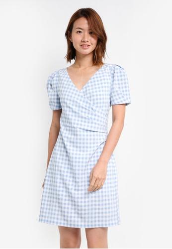 ZALORA blue V Neck Puff Sleeve Bodycon Dress B6FA5AAE70D605GS_1